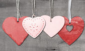 Valentine's Day love heart on rustic style background — Stock Photo
