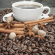Steaming hot Cup of coffee with cinnamon, star anise, nutmeg and — Stock Photo #18102789