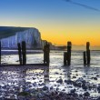 Winter sunrise at low tide at Seven Sisters cliffs — Stock Photo