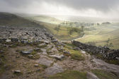 Footpath from limestone pavement down to Malham Cove in Yorkshir — Stock Photo