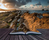 Sunrise ocean landscape Mupe Bay Jurassic Coast England in pages — Stock Photo