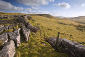 Limestone rocks and flint walls lead towards Malham Moor in dist — Stock Photo