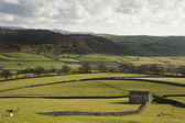 Typical stone barn and flint walls in Yorkshire Dales National P — Stock Photo