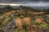 View from Ramshaw Rocks in Peak District National Park towards T — Stock Photo