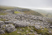 Fog sweeps over limestone pavement at Malham Cove in Yorkshire D — Foto de Stock