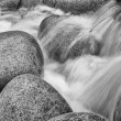 Black and white image of detail of water flowing over round rocks - Stock Photo