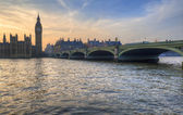 Big Ben and Westminster Bridge during Winter sunset — Stock Photo