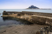 St Michael's Mount Bay Marazion harbour wall landscape Cornwall England — 图库照片