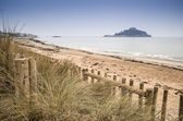 St Michael's Mount Bay Marazion landscape viewed through sand dunes Cornwall England — Stock Photo