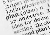 Macro image of dictionary definition of plan — Stock Photo