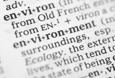 Macro image of dictionary definition of environment — Stock Photo