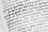 макро образ словарное определение пропаганды — Стоковое фото