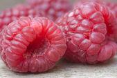 Macro image of fresh Summer raspberries — Stock Photo