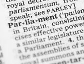 Macro image of dictionary definition of parliament — Stock Photo