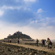 Landscape of Path revealed at low tide to St Michael's Mount from Marazion Cornwall England — Stock Photo #27520011