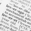 Stock Photo: Macro image of dictionary definition of leverage