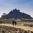 Landscape of Path revealed at low tide to St Michael's Mount from Marazion Cornwall England — Stock Photo #27781187