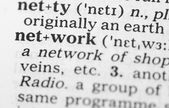 Macro image of dictionary definition of network — Stock Photo
