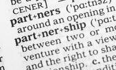 Macro image of dictionary definition of partnership — Stock Photo