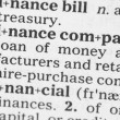 Macro image of dictionary definition of finance — Stock Photo #28592119