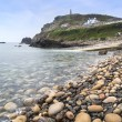 Pebble beach and headland at Cape Cornwall — Stock Photo