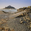 Path to St Michael's Mount from Marazion low tide landscape Cornwall England — Stock Photo