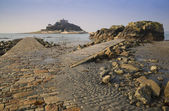 Path to St Michael's Mount from Marazion low tide landscape Cornwall England — Stok fotoğraf
