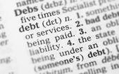 макро образ словарь определение долга — Стоковое фото