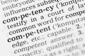 Makro obraz słownikowej definicji kompetencji — Zdjęcie stockowe