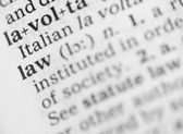 Macro image of dictionary definition of law — Stock Photo