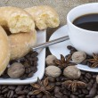 Coffee and pastries continental breakfast buffet table setting — Stock Photo