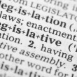Macro image of dictionary definition of legislative — Stock Photo