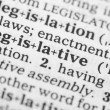 Stock Photo: Macro image of dictionary definition of legislative