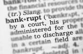 Macro image of dictionary definition of bankrupt — Stock Photo