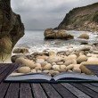 Stock Photo: Creative concept pages of book Beautiful landscape of Porth Nanv