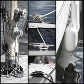 Retro look collection of yacht sailboat details — Photo