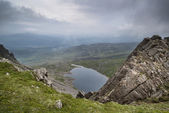 View from top of Cadair Idris looking to Llyn y Gader landscape — Stock Photo