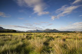View from Porthmadog Cob towards Snowdonia mountains landscape d — Stock Photo