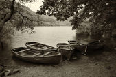 Sepia retro style picture of derelict boathouse and rowing boats — Stock Photo