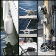 Detail shot collage of yacht sailboats — Stock Photo