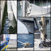 Detail shot collage of yacht sailboats — Foto Stock