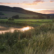 Summer sunset reflected in river in countryside landscape during — Stock Photo