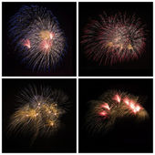 Collection of bright colorful firework burst explosions on black — Stock Photo