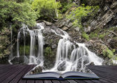 Creative concept pages of book Landscape detail of waterfall ove — Stock Photo