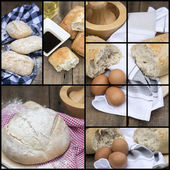 Compilation collage of fresh bread making stages — Stock Photo