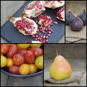 Compilation collage of fresh fruit with Autumnal theme — Stock Photo