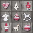 Stock Photo: Compilation collage of aged traditional Christmas decorations