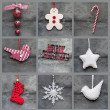 Compilation collage of aged traditional Christmas decorations — Stock Photo #34737691