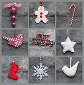 Compilation collage of aged traditional Christmas decorations — Stock Photo