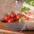 Fresh club sandwich in rustic kitchen setting — Stock Photo